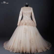 RSW783 Champagne Long Sleeve Muslim Wedding Dress Islamic Wedding Gowns(China)