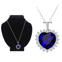 LNRRABC 1PC Hot Fashion Trendy Charming Blue Heart Pendant Women Lady Girl Ocean Heart Necklace Full Dress Decoration