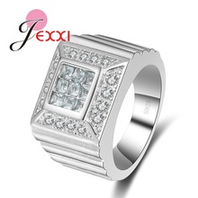 JEXXI Cool Design Fashion Finger Ring Women Men CZ Crystal 925 Sterling Silver Party Engagement Rings Accesories