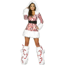 Adult Cosplay White fur Christmas Costumes With Leg warmers Miss Santa Beauty Secret Costume Disfraces Adultos Sexy Woman
