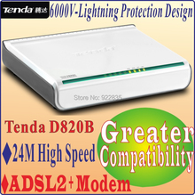 Tenda D820B High Speed DSL Internet Modem ADSL 2+ with 1-Port Switch with 1 ethernet cable, 1 ADSL Splitter, 2 Telephone Lines