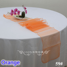 Orange colour high quality crystal organza table runner for linen table covers modern party wedding decoration wholesale(China)