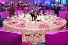 Customized order- Blush 120inch Round Sequin Tablecloth and blush 40cm x400cm Runner and one piece of Blush 400cm fabric