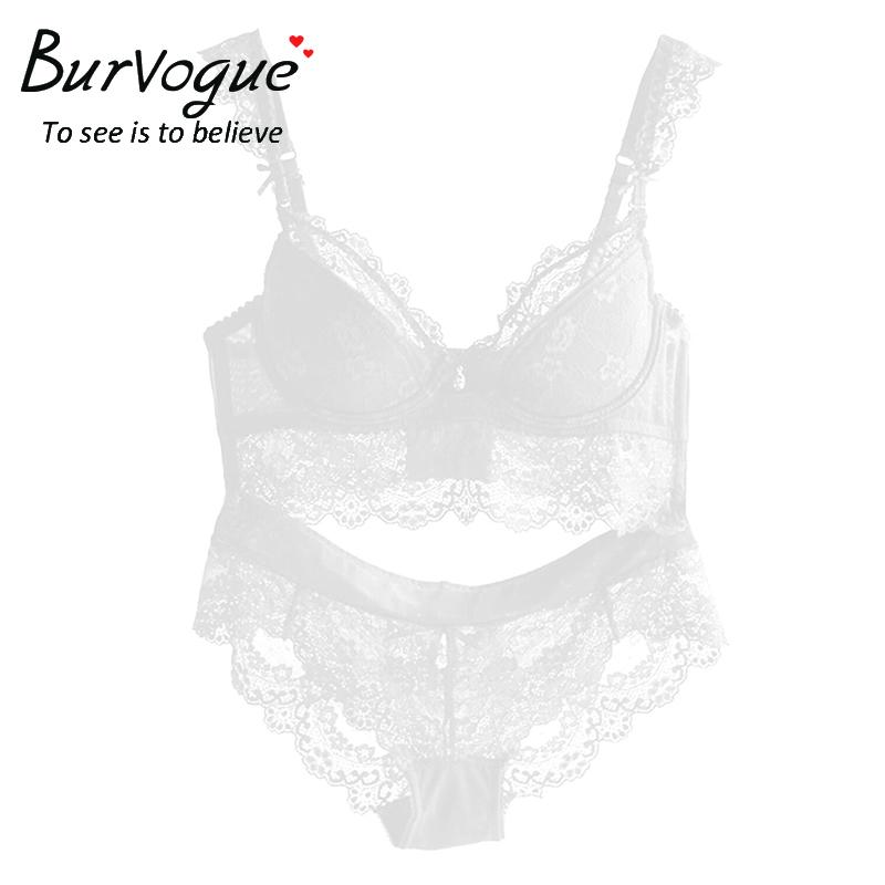 Burvogue New Lace Lingerie Bra Set Women Sexy Bra Set Push Up Bras Underwear Sets Plus size Adjustable Bras and Panties Set 11