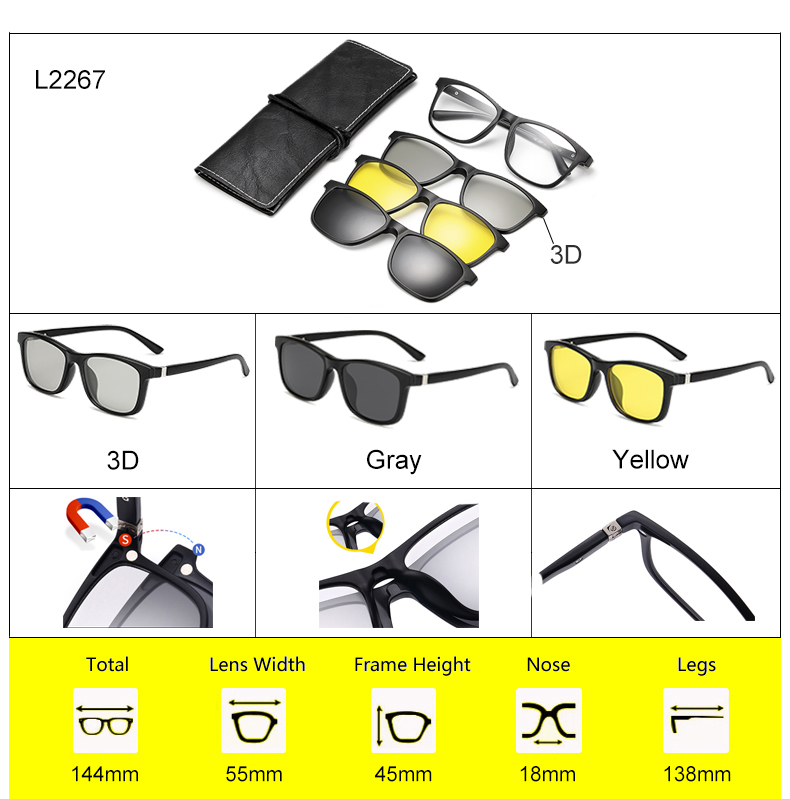 Ralferty 2018 Multi-Function Magnetic Polarized Clip On Sunglasses Men Women Ultra-Light TR90 3D Yellow Night Vision Glasses 12