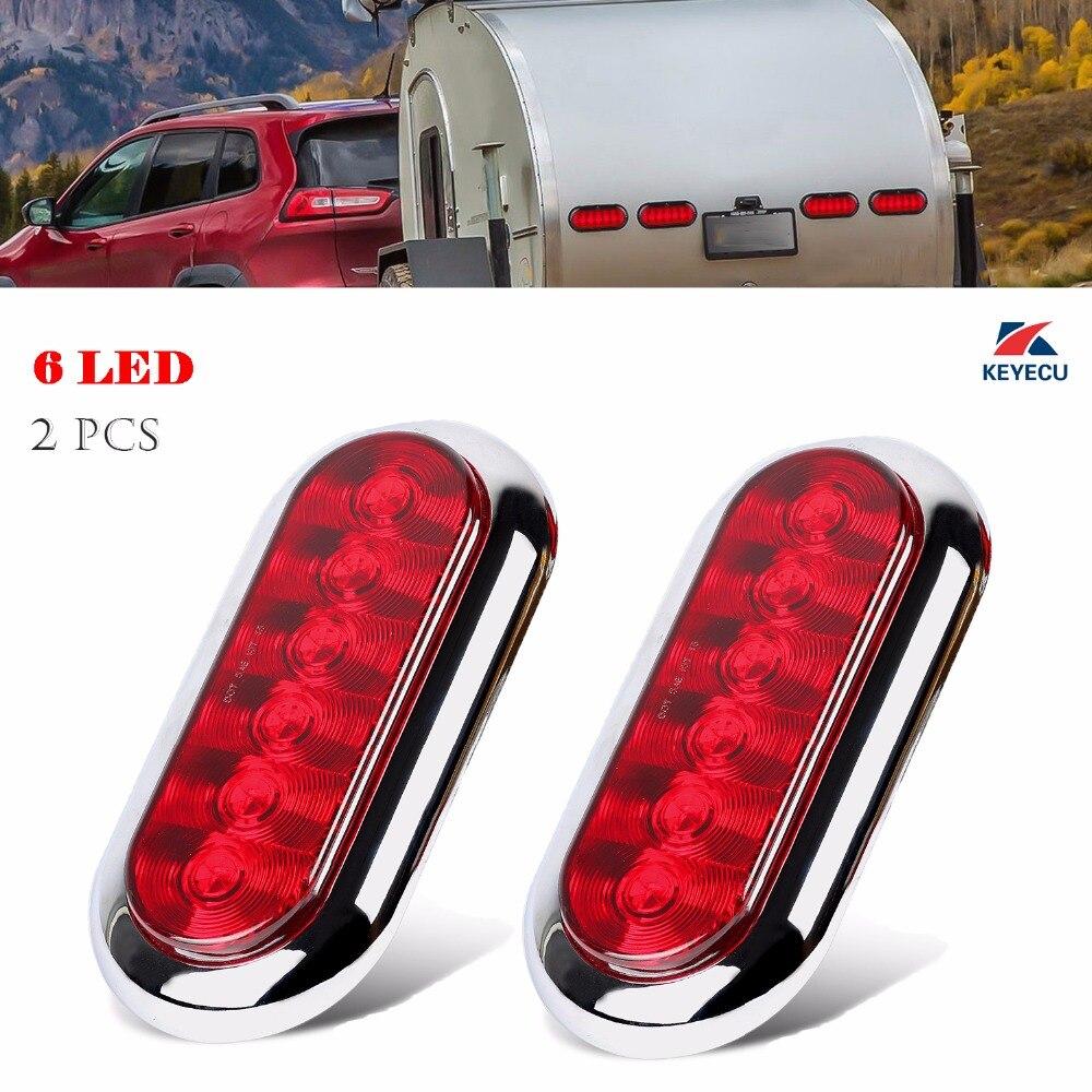 "6/"" Clear//Red Oval Led Stop-Turn-Tail Trailer Light Brake Lamp DOT Semi Truck 2pk"