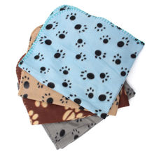 Pet Dog Blanket with Paw Footprints Prints Pattern Cute Handcrafted Cozy Soft Pet Fleece Blanket Dog Cat Puppy