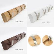 Bamboo base with 4pcs metal hook coat hanger, wall mount holder, bag & key hook, three color for your choice