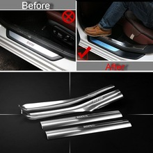 4 PCS Car New DIY Stainless Steel Built Threshold Light Strip Cover Case stickers for Bmw 1 2 3 4 Series 218i Part Accessories