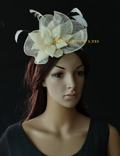 Ivory cream lt pink New Arrival feather sinamay hat Fascinator bridal fascinator for kentucky derby wedding church races party