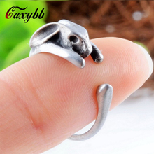 1 Ps New Arrivals Antique Silver Boho Chic Brass Knuckle Wrap Rabbit Rings Cute Mid finger Animal Rings Jewellery R38
