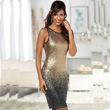 2017 New Style Summer Dress Women O Neck Sleeveless Gold Paillette Sequins Backless Bodycon Slim Pencil Party Plus Size Dresses
