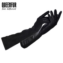 QUEENFUR Long Real Leather Gloves For Women Genuine Sheepskin Gloves Adult Goat Skin Leather Warm lined Black High-grade gloves(China)