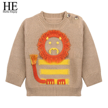 lucky child infantil newborn baby clothes baby sweater 2018 winter casual long sleeve lion pullover toddler boy sweater cardigan(China)