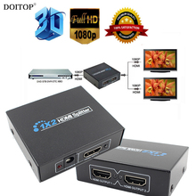 DOITOP Full HD 3D 1080P 1 in 2 out 1X2 2 Port HDMI Splitter Hub Repeater Amplifier Female HDMI Audio Cable Converter Adapter O3(China)