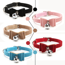 Safety Elastic  Bowtie with bell small dog cat collar safe soft velvet 6 colors pet Products dog collar pet supplier
