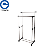 Living Room Furniture Double Folding Metal Coat Rack Clothes Rail Hanging Garment Dress On Wheels Mesh Shoe Rack De Roupas
