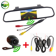 "Free Shipping, Auto Parking Assistance Wireless Camera Monitor, Wireless 4.3"" Rearview Mirror Monitor With Rear view Camera"
