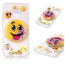 For Huawei P 10 Lite Phone case capa fundas Flowing Glitter 3D Effect Design PC+TPU Phone Casing Cover-Smile Face