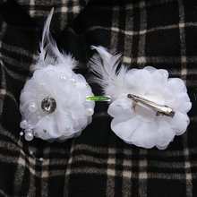 10pcs Pearl Crystal Boutonniere Wedding Church Decor Bride Artificial Rose Corsage Hair Clip Brooch Flower White Fl5165