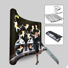 10ft portable curved tension fabric trade show display exhibition pop up stand banner booth exhibits with travel case