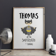 Superhero In Training Print Wall Decor Cartoon Art Print Poster Wall Pictures for Child Room Decoration Wall Art No Frame E306