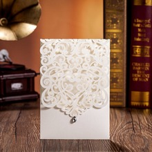 WISHMADE 50pcs Vertical White Elegant Engagement Card Wedding Invitation with Rhinestone Laser Cut Flowers CW5001(China)