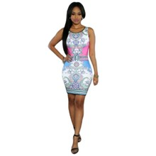 Summer tank dress sleeveless bodycon 2017 hot fashion vintage print sexy african dresses short hot selling cheap products H99