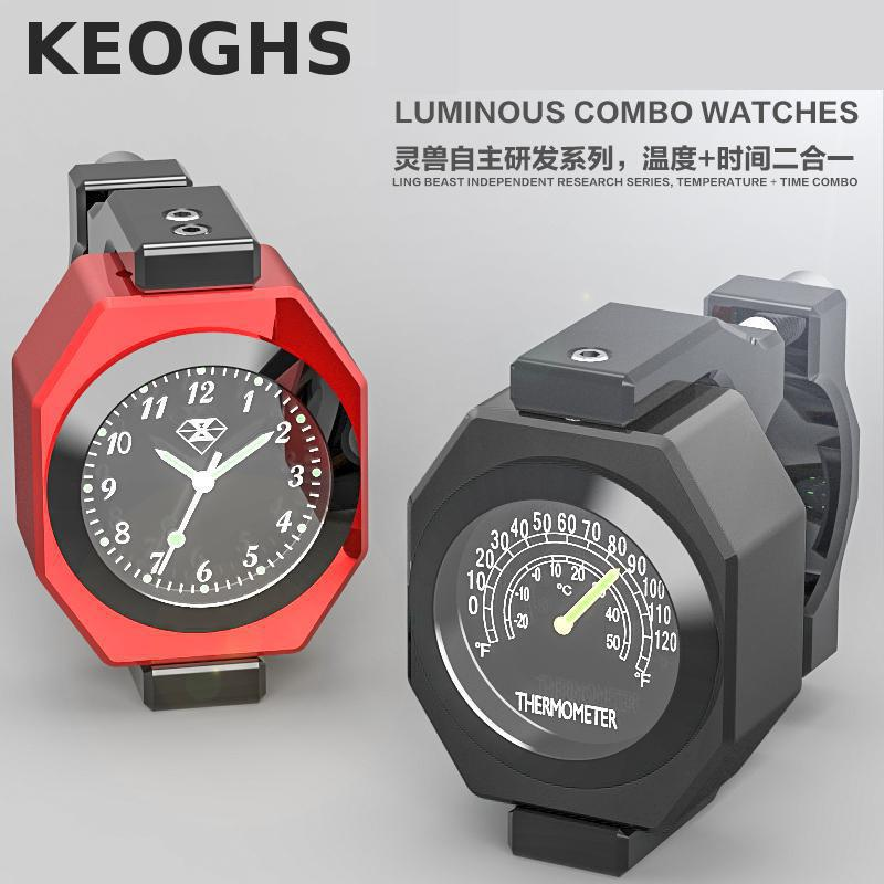Keoghs Motorcycle Watch And Thermometer 2 In 1 Luminous Waterproof For Harley Kawasaki Yamaha Ktm Dirt Bike Motorbike Tourism<br>