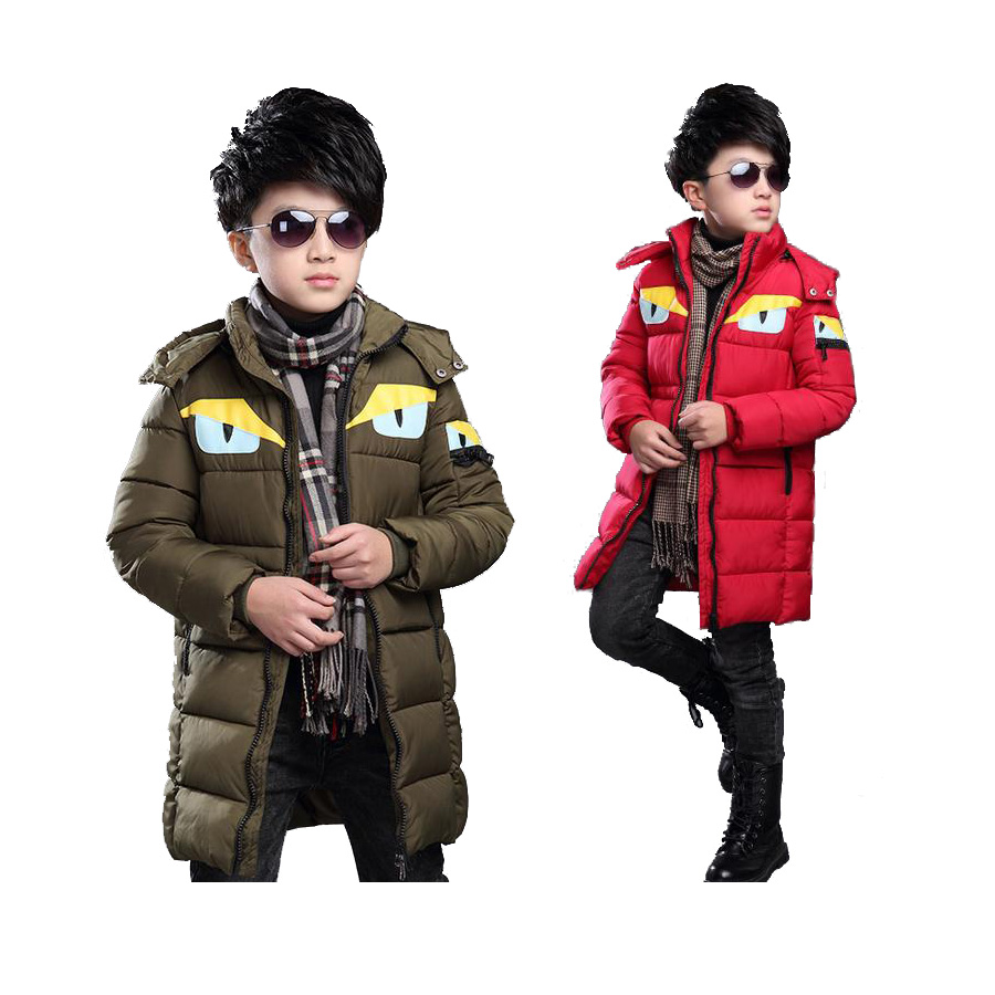 thick kids parkas coat cute little monster lengthen overcoat  for 3-12yrs children boys girls Winter jacket outerwear clothesОдежда и ак�е��уары<br><br><br>Aliexpress