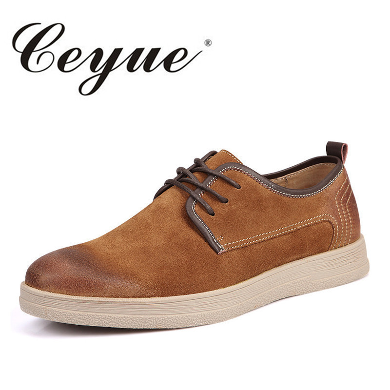 Ceyue Brand Minimalist Leather Suede Casual Shoes Men Office Walking Comfort British Designer Men Shoes New Oxfords Work Shoes<br>