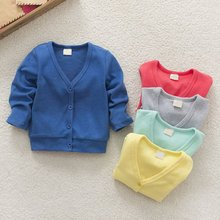 2017 New Baby Children Clothing Boys Girls Candy Color Knitted Cardigan Sweater Kids Spring Autumn Cotton Outer Wear 5 Color