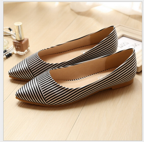 Fashion gourd ladle shoes spring/summer 2016 new female flat shoes big yards for womens shoes flat 41-43 stripe single shoes<br><br>Aliexpress