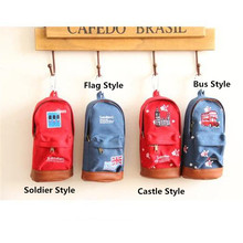 1pc/lot Pencil Bag Carton Case 4 Style Castle/Soldier/Bus/Flag Canvas+PU Red/Blue Kids Stationery School Supplies 18*9*5cm
