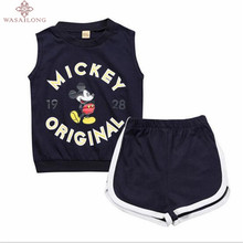 Wasailong With the summer new product Cotton children Girl gymnastics exercise suit mickey + shorts 2  vest