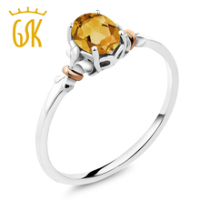 Gemstoneking 925 Sterling Silver real 10K Rose Gold Ring Oval Yellow Citrine 0.60 cttw oval of fashion women ring grace type(China)