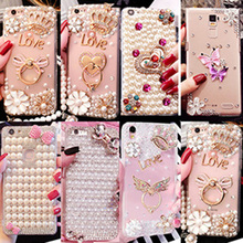 for iphone 7 case Hot Luxury Pearls Diamond Soft Silicone smartphone case IPhone 7 Plus Back Finger Ring Holder Girls Cover(China)