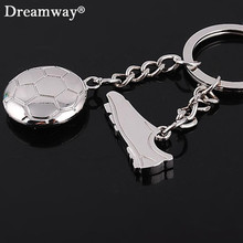 metal football shoes keychain bardian soccer ball key chains key cap fashion man car pendant factory promotion free shipping(China)