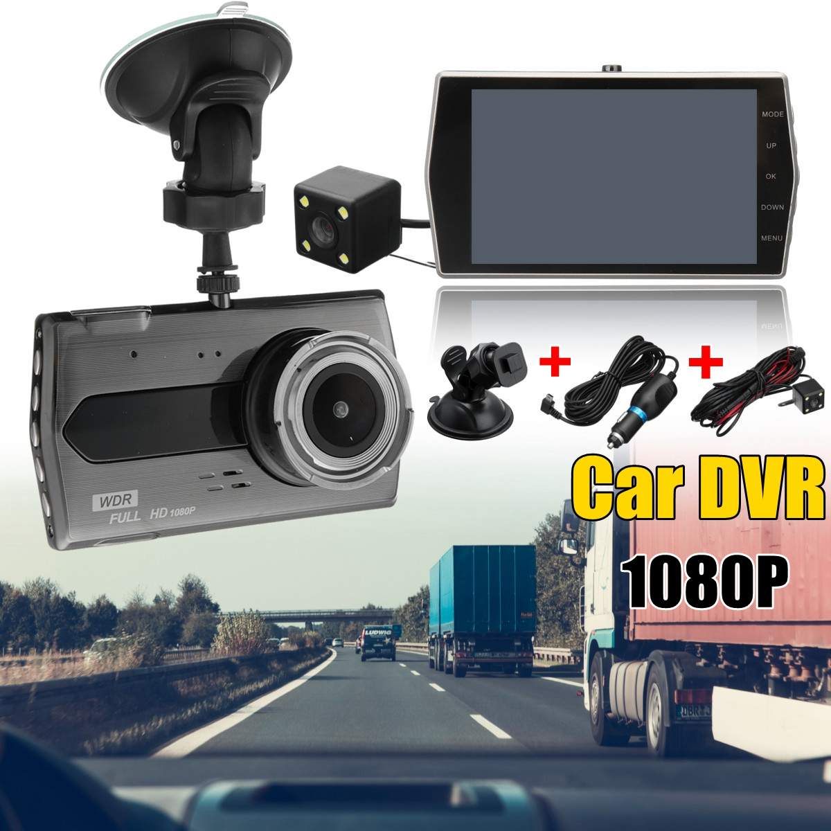 4 inch Dual Lens Camera HD 1080P Car Vehicle blackbox DVR Video Dash Cam Front Rear Recorder H506 IPS