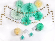 7Pcs Tissue Paper Fans+3M Paper String+2pompoms +2 Honeycomb Balls Party Decoration Set Rustic Country Wedding Decorations(China)