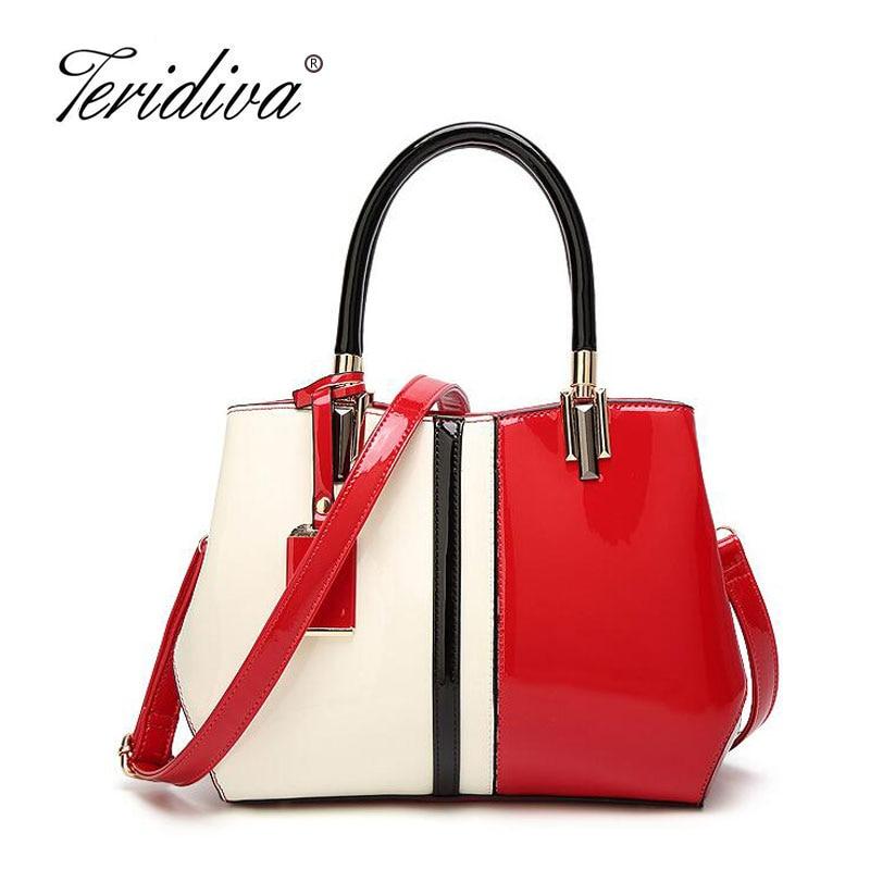 Teridiva Brand Womens Patent Leather Shoulder Bag Luxury Handbags Women Bags Female Tote Designer Bag Wedding Handbag Patchwork<br>