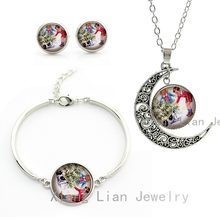 Cute funny Children Playing With Dog photo women girls jewelry sets fashion kids Christmas gift necklace earrings bracelet CM108