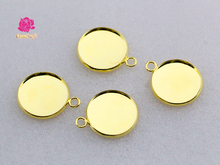 20mm Gold Round Bezel Tray , Stainless Steel Blank Pendant Tray, Round Cabochon Setting, 20pcs/lot