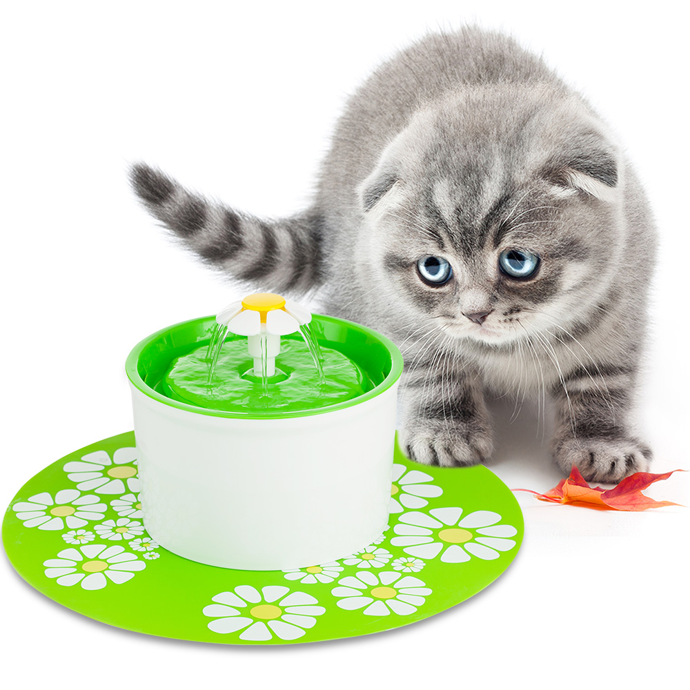 Green 1.6L Adjustable Automatic Cat Dog Kitten Water Drinking Fountain Pet Bowl Dish Drink Filter with Flower Silicone Pad<br>