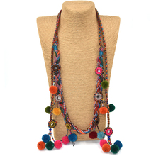 Colthing Accessories Bohemian Pompoms Charm Long Beaded Chains Necklace Handmade Velvet Ball Pompous Tassel Boho Maxi Necklace(China)