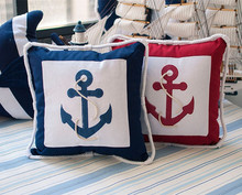New Arriver Mediterranean Furnishing Embroidery Sea Anchor Pillow Case Canvas For Compas Cushion  cover 4 Color