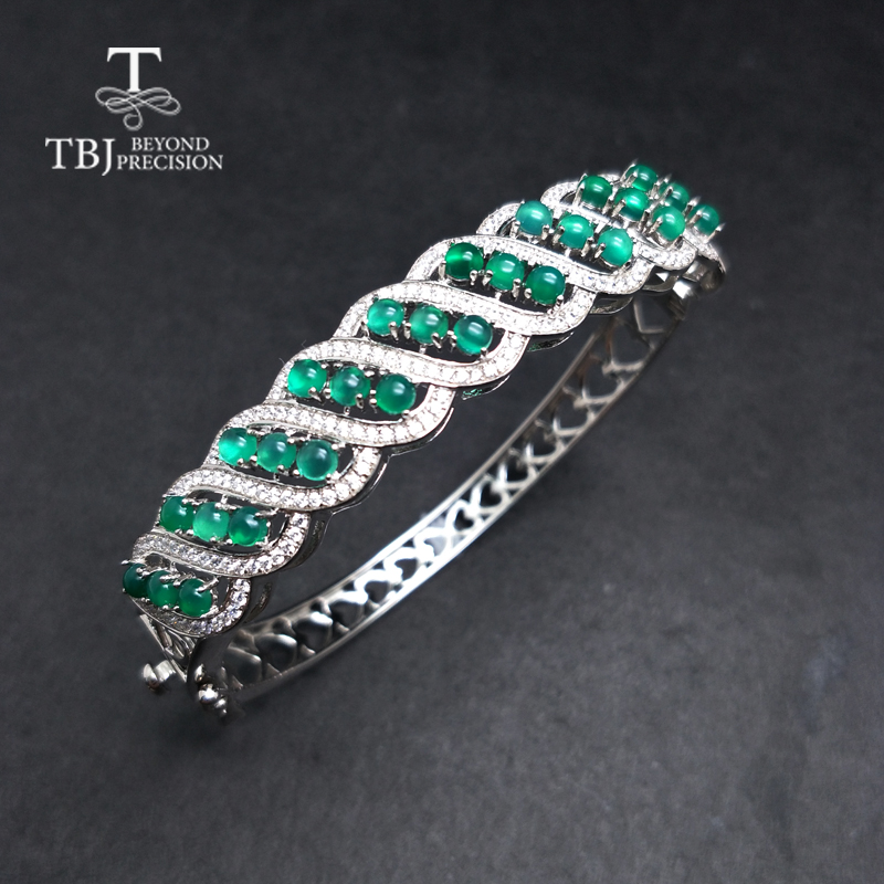 TBJ, Natural green agate gemstone Bangle 925 sterling silver solid fine jewelry classic design women anniversary wedding gift