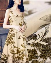 Freeshipping Golden leaf jacquard satin printing and dyeing silk fabric, print satin floral cotton fabric dress katoen stof B536
