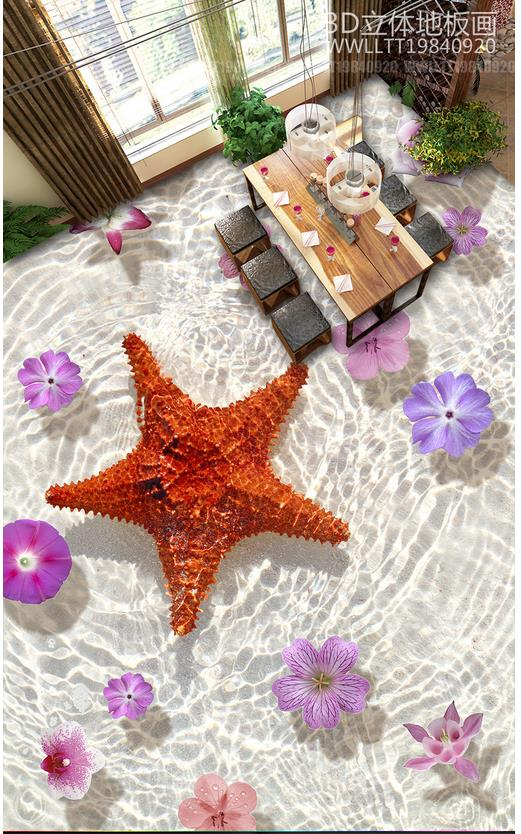 Custom photo wallpaper 3d flooring painting wallpaper Starfish flowers stuck sitting room bathroom floor wallpaper living room<br>