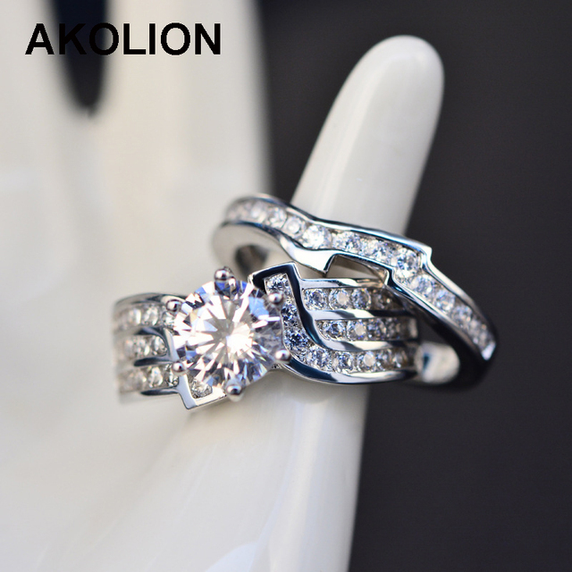 Couple Ring Big Zircon Silver Wedding Rings for Women and Men Engagement Crystals Rings Bague Femme 2pcs/lot